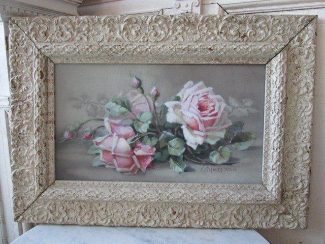 OMG Christie REPASY CANVAS PRINT PINK ROSES ORNATE Vintage Old Gesso FRAME | Art, Art from Dealers & Resellers, Prints | eBay!