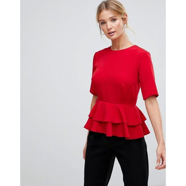 ASOS Fuller Bust Double Pephem Top ($42) ❤ liked on Polyvore featuring tops, red, peplum tops, party tops, asos tops, going out tops and wet look top
