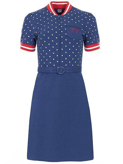 Mademoiselle Yeye Jen Dress blue dots blue red white dots polkadots print jurk blauw rood met witte stippen print 1960s vintage look