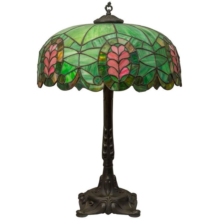 Leaded Glass Thistle Lamp, Chicago Mosaic Company 1