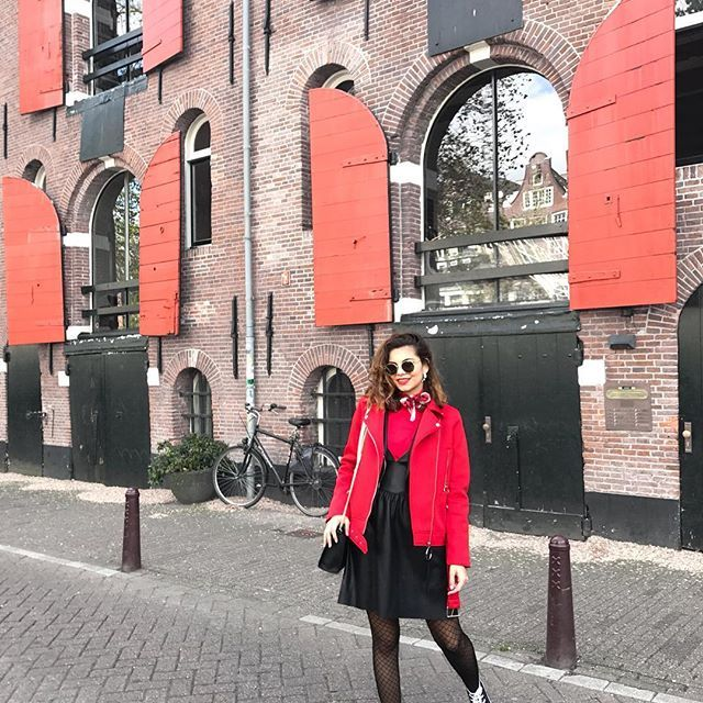 Rocking the fishnets in the streets of Amsterdam ❤️ little throwback sunday. #Buonissima #Amsterdam