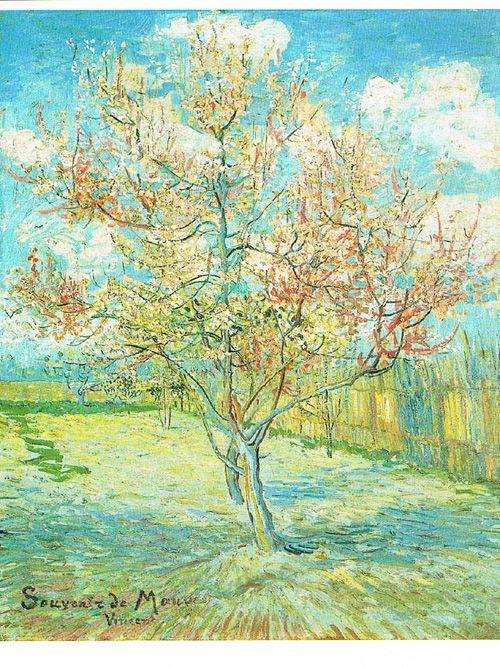 Kunst op postkaart. Titel: Bloeiende Bomen (1888 ). Kunstenaar: Vincent van Gogh. Collectie Postersquare