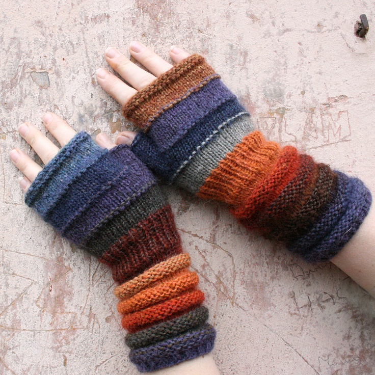 Sulphur Springs Unmatched Striped Hand Knit Fingerless Gloves with upcycled yarn and kid mohair. $42.00, via Etsy.