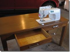 I love how they drilled a hole for the knee lift on this DIY sewing table from a thrift store desk. They even were able to keep the left side drawer intact. Love it!