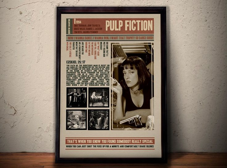 PULP FICTION Movie Poster * Quentin Tarantino Film Quotes Retro Vintage Wall Art Print * A1 A2 A3 A4 Sizes Available by POTAPOTA on Etsy https://www.etsy.com/listing/247655773/pulp-fiction-movie-poster-quentin