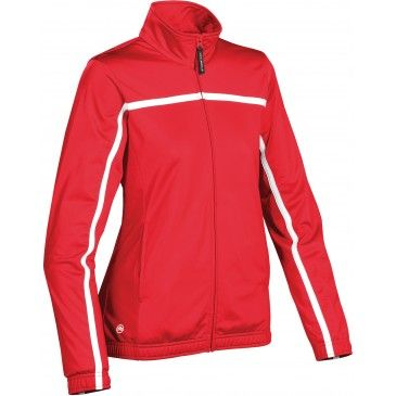 WOMEN'S PREMIER PERFORMANCE KNIT JACKET. Colours: BLACK, RED Premium performance athletic knit jacket designed to keep you warm with maximum flexibility and a streamlined silhouette. Brushed tricot pockets keep your hands comfortable and warm in cool weather while the elastic waistband gives a secure fit at the waist to maximize core warmth.