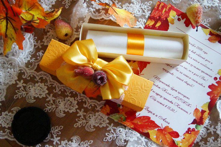 Купить Осеннее приглашение на свадьбу в коробочке - рыжий, приглашения на свадьбу, пригласительные, приглашения ручной работы