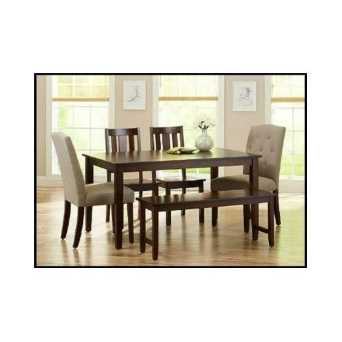 Dining-Table-Set-Kitchen-Chairs-Bench-Furniture-Room-Wood-Tufted-6-Piece-Modern