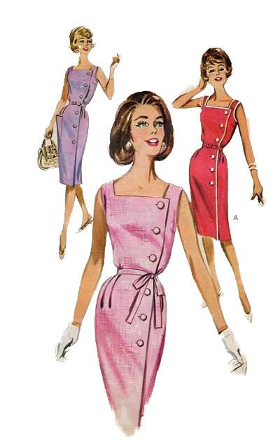 Butterick 9762 1960s Misses Sleeveless Sun Dress Pattern Side Buttoned womens vintage sewing pattern by mbchills