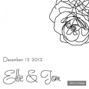 Hand Drawn Charcoal & White Roses Wedding Invitations