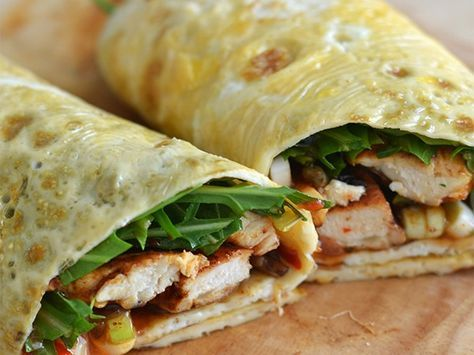 Omeletwraps met kip: ook lekker met kipfilet vleeswaren, kaas, Philadelphia, gerookte zalm of andere vis