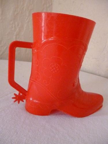 Vintage 1950s Red Cowboy Boot Mug Cup Plastic Spurs Kids