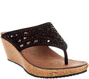 Skechers Wedge Thong Sandals w/ Rhinestones - Dazzled