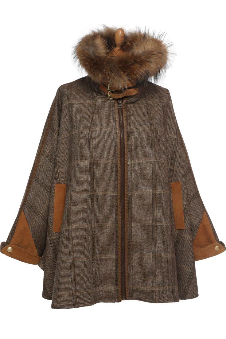 Luxury Tweed And Fur Cape In Wren In 2019 Fur Cape Cape