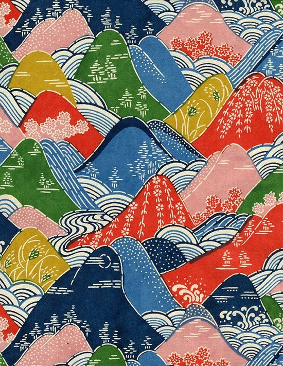 Found Image: Japanese paper, printed mountains