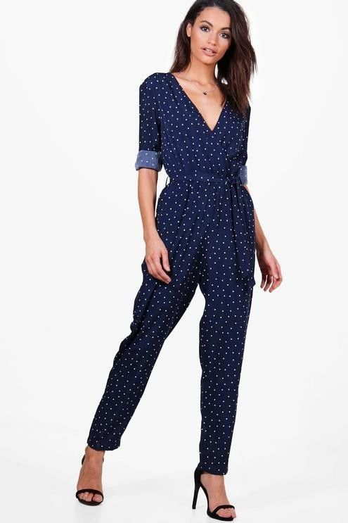 1479aecc67e Boohoo Women s Polka Dot Wrap Front Jumpsuit Navy US 8 UK 12 NWOT  fashion   clothing  shoes  accessories  womensclothing  jumpsuitsrompers (ebay link)