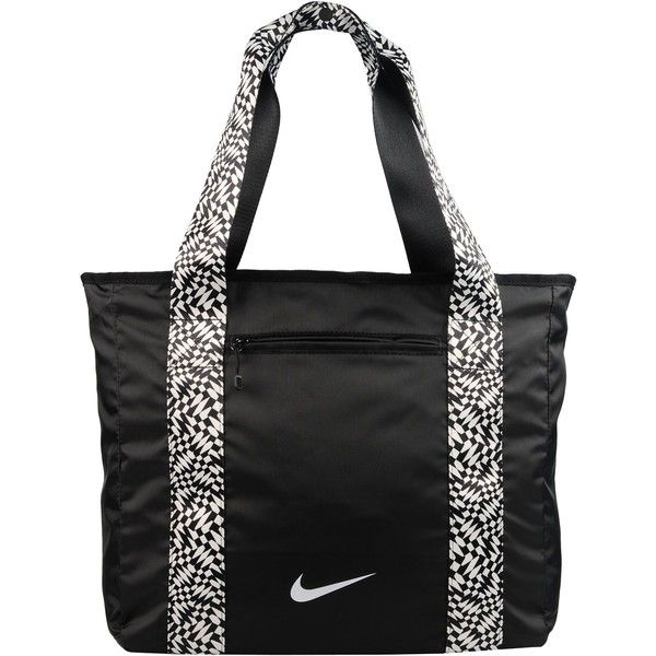 Nike Shoulder Bag ($36) ❤ liked on Polyvore featuring bags, handbags, shoulder bags, black, shoulder shopping bag, shopper handbags, nike purse, print purse and shopping bag