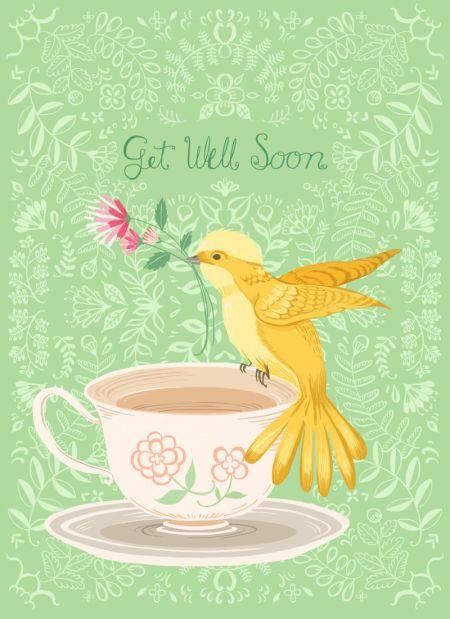 Pimlada Phuapradit - Floral And Bird Card_Get Well Soon
