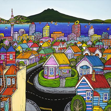 Buzzing Around Having Fun by NZ artist Fiona Whyte is a colourful and fun depiction of the Auckland skyline (including the Sky Tower and Rangitoto. Available as a matted mini-print from www.imageault.co.nz