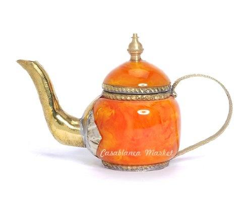 Mediterranean Decorative Orange Mini Teapot