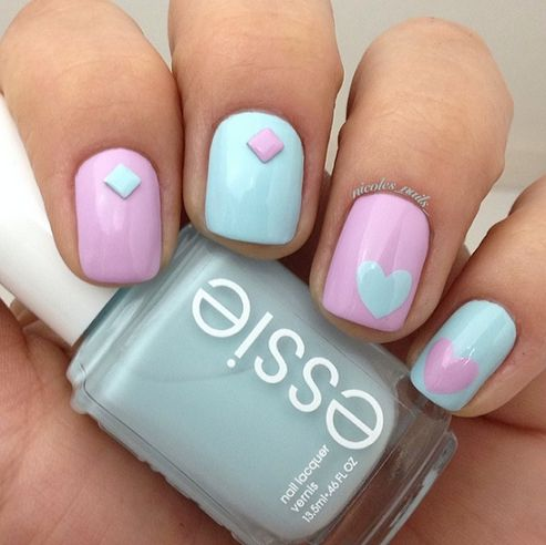 Adorable Valentine's Day Nail Ideas (mint and purple) | CraftyMorning.com