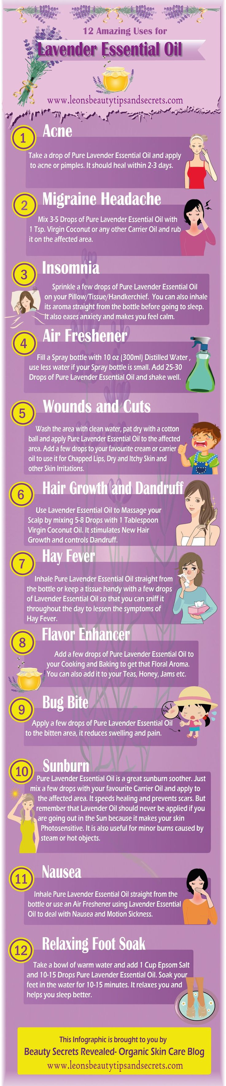 12 Amazing Uses for Lavender Essential Oil #Infographics