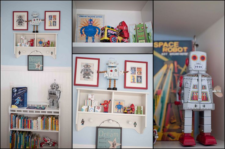 """my friends super cute nursery! I made tht robot in the middle that is holding up the letters """"Adam"""""""