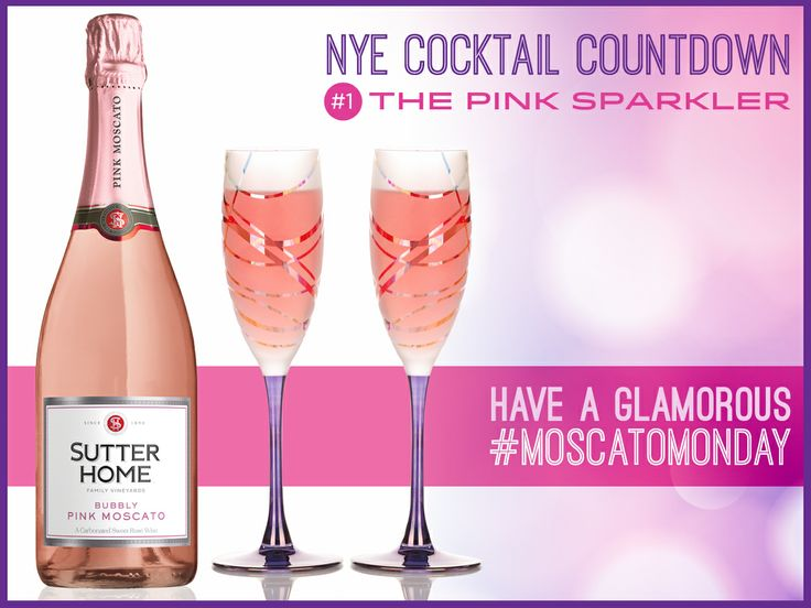 Cheers to a very #glamorous #MoscatoMonday! Try our Pink Sparkler wine cocktail recipe.