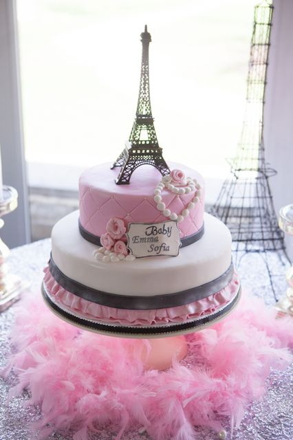 Gorgeous cake at a Paris Baby Shower! See more party ideas at CatchMyParty.com!
