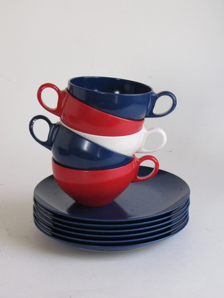 Vintage Patriotic Red White and Blue Melmac Dishes - 5 cups 6 Plates & 74 best Vintage u0027Melmacu0027 Red/Orange ??????? images on ...