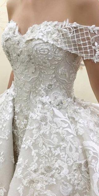 ♕wedding dress, bridal, white wedding dress, inspiration, women's clothing, tulle, basque waist, long full skirt, peplum. Flared waist detail, off the shoulder, portrait collar, lace embroidered