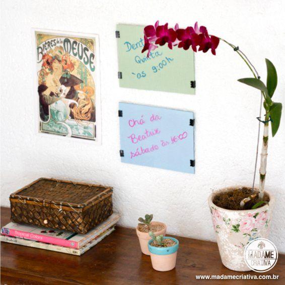 Como fazer um quadro de avisos em 5 minutos-  Passo a passo com fotos - How make a notice board in 5 minutes- DIY tutorial  - Madame Criativa - www.madamecriativa.com.br