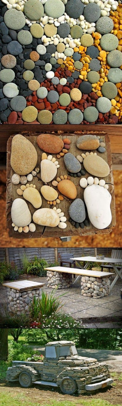 """25 Amazing DIY Ideas How to Upgrade your Garden this Year [   """"I might have to make a table out of these stones! Easy Garden DIY Projects with Stones I love the pickup!"""",   """"Home-Decor: Easy Garden DIY Projects with Stones. That truck is so cool!"""",   """"Take stones, rocks, pebbles you find in the garden and turn them into these beautiful ideas"""",   """"Easy Garden DIY Projects with Stones Call today or stop by for a tour of our facility! Ideal for Outdoor gear, Furniture, Antiques, Collectibles…"""