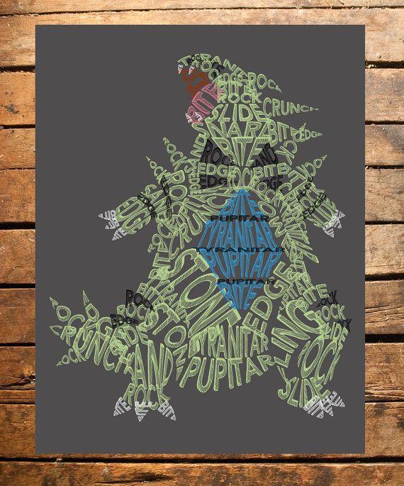 Pokemon Tyranitar Typography Digital File by TaracottaSunrise
