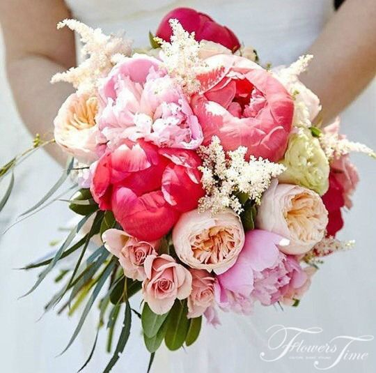 Pink pionies coloured bridal bouquet by Flowers Time