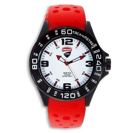 Sportowy ultralekki zegarek analogowy. Umieszczony na silikonowym pasku, wyposażony w kwarcowy mechanizm Miyota 2035-Citizen. #ducati