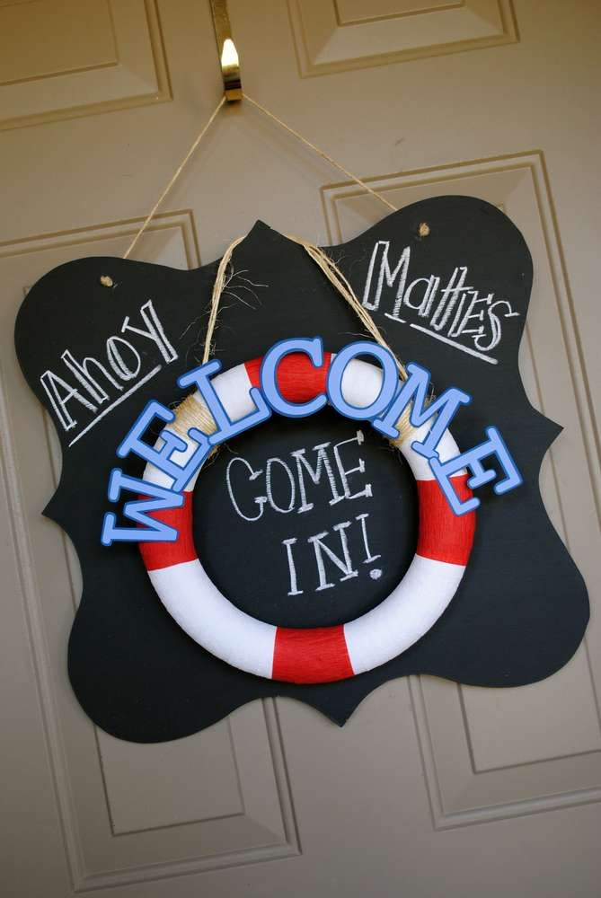 Sailor/nautical Birthday Party Ideas | Photo 47 of 53 | Catch My Party- Foam Wreath, painted as a Life preserver.