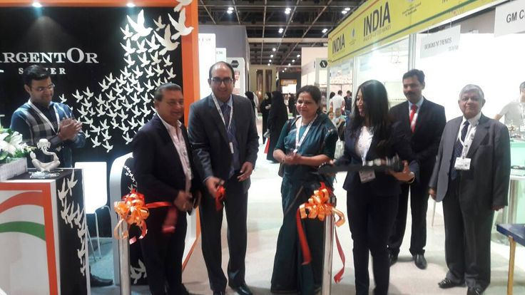 Mr. Vipul, Consulate General of India, Dubai along with Ms. Geeta Nair, Deputy Secretary and Mr. D. Kumar, Chairman-EPCH inaugurating the India Pavilion at The Index International Design Exhibition held from 22nd – 25th May, 2017. #EPCHIndia #IIDE17 — at Dubai World Trade Centre.