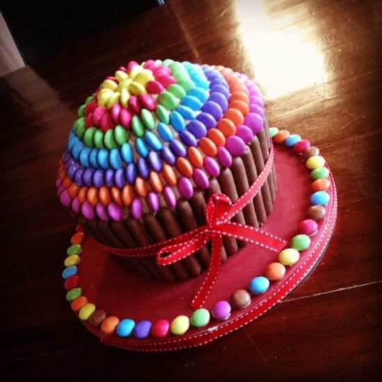 Rainbow Smarties Giant Cupcake Cake
