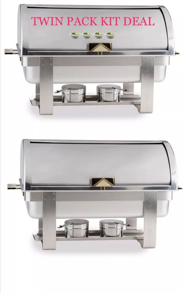 2 PACK FULL KIT 8 QT DELUXE ROLL TOP Chafer Stainless Chafing Dish FAST SHIPPING  | eBay