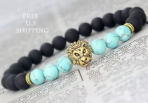 Charm Mens Metal Gold Lion Head Black Matte Agate Turquoise Beaded Bracelet | eBay