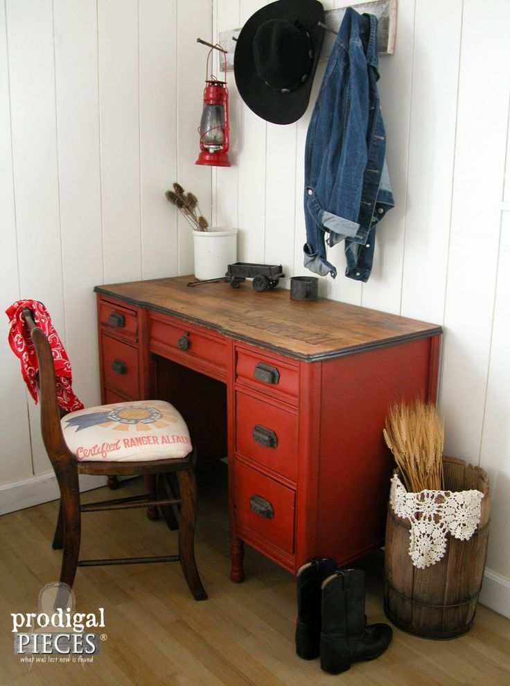 "Red Antique Farmhouse Style Desk with Woodburned ""Life is Better on the Farm"" and Upholstered Feedsack Chair ~ Western Rustic Style by Prodigal Pieces on Etsy www.prodigalpieces.com"