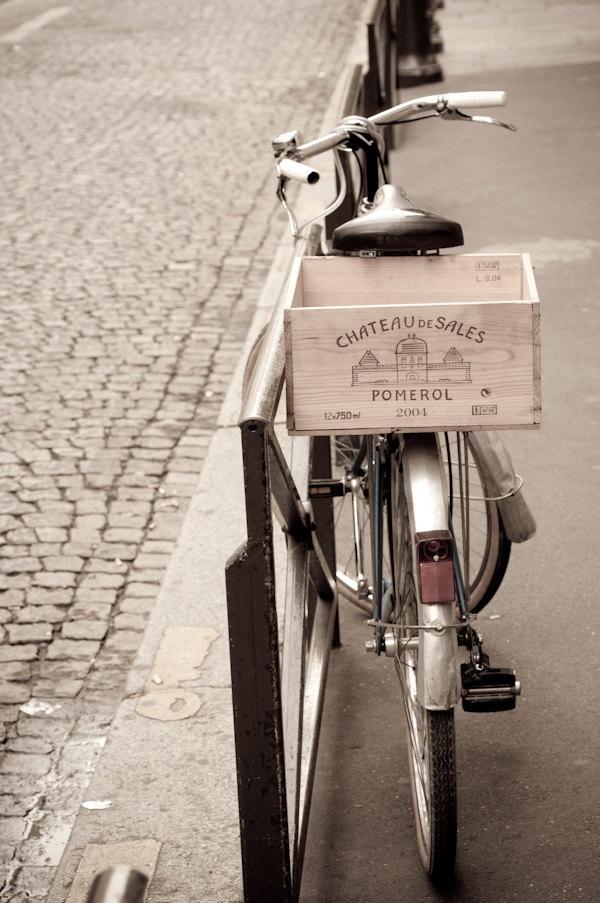 Paris Photo - Paris Bicycle on Parisian Street, with Wine Crate, France, Home Decor Fine Art Travel Photograph. $25.00, via Etsy.