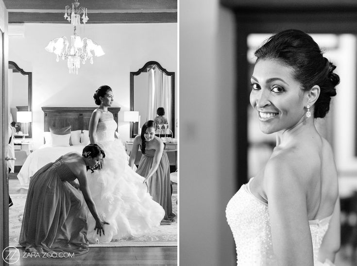 Bride getting ready in her Manual Mota #weddingdress. Nooitgedacht Estate, ZaraZoo photography