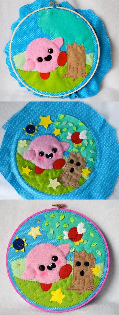 WIP Kirby 20th Anniversary Hoop by ~misscoffee  more cute plushies