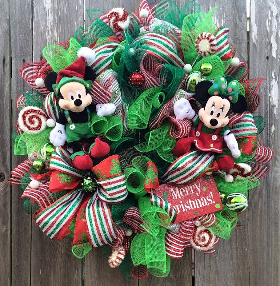Disney Christmas Wreath Mickey and Minnie by BaBamWreaths on Etsy