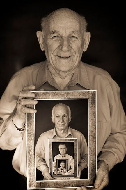 Generation photo.. Great grandpa holding picture of grandpa holding picture of dad holding picture of kid.. awesome idea!