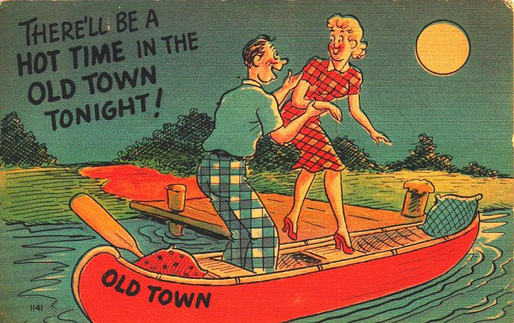 A comic postcard advertising Old Town Canoes makes an open joke of their preferred use. Image courtesy Benson Gray.