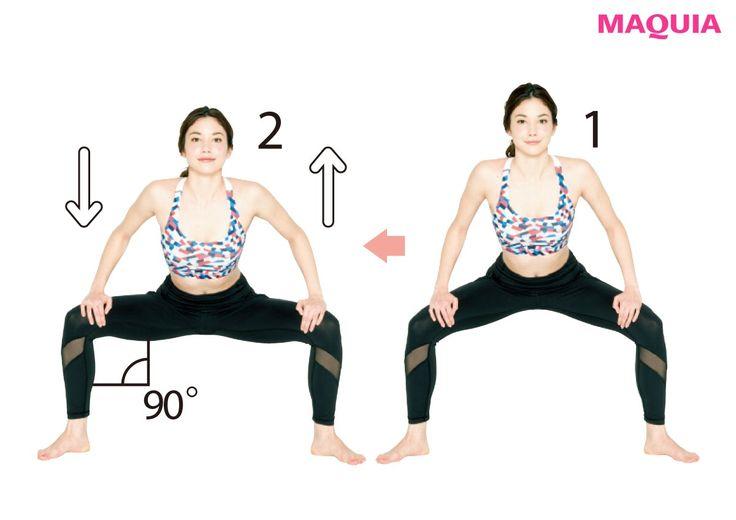 タイプ2 扁平尻30回からスタートして1日2回ずつ増やす腰幅スクワットお尻に丸みがないタイプは、お尻全体を刺激して、丸みのあるメリハリラインに。ひざ角度を90度に上げ下げ①両脚を腰幅に開き、中腰姿勢に。お尻を突き出し、つま先はまっすぐ...