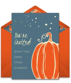 "Free Fall party invitations. Tons of seasonal pumpkin online invitations you can personalize and send via email. This ""Simple Pumpkin"" design is great for a Fall-themed dinner party, Fall cocktail party, or even a Fall wedding."